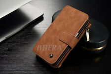 Genuine Leather Case ZIPPER Wallet Card Purse Multifunction for iPhone 6 6s Plus for Samsung Galaxy S9 Brown