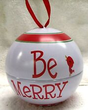"""VINTAGE CHRISTMAS--""""BE MERRY"""" ORNAMENT--4 1/4"""" TALL ORB--VERY NICE--GREAT PATINA"""