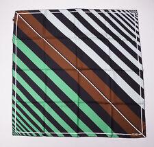 NWT $350 FENDI Brown-Green-Black Multi Stripe Print Silk Scarf Made in Italy