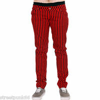 DRAINPIPE STRETCH SKINNY JEANS RED STRIPE MENS UNISEX INDIE ROCK GLAM RETRO