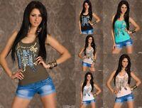 Top Canotta Donna Maglietta T-shirt BITTER SWEET B453 Tg S/M M/L