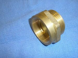 """FIRE HOSE HYDRANT HEX BRASS ADAPTER  1-1/2"""" Female NPT  1-1/2"""" Male NST #FM1515F"""