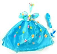 Barbie Vintage Blue Gown 1990s Songbird Blossom # 14320 Flowers Brush Shoes