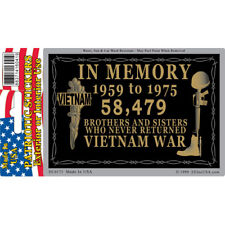 Vietnam War In Memory Car Decal 3 by 4 Inches