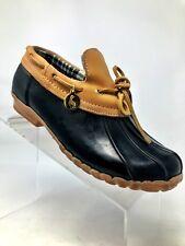 Sporto Daria Leather Mud Mocs Black/Brown Duck Shoes Waterproof Women 6 M