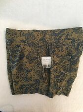 Free People Womens Green Rayon Paisley Drapey Casual Shorts Size M MSRP $78
