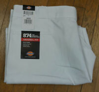 NEW DICKIES 44X30 WORK 874 PANTS WHITE NO IRON ORIGINAL FLAT Men's NWT
