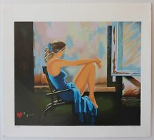 Alexander Borewko Lady In Blue Limited Edition Serigraph Beautiful Art Painting