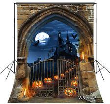Horror Halloween Cemetery Pumpkin Arch Backdrop 5x7ft Vinyl Photo Background LB