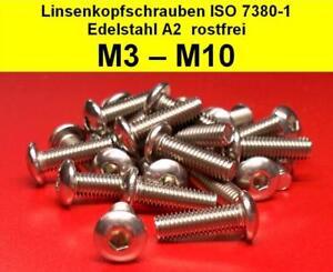 30 St/ück rostfrei | Flachkopfschrauben DERING Linsenkopfschrauben M6 X 12//12 mit Innensechskant ISO 7380 Edelstahl A2