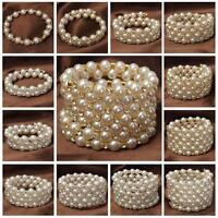 Multilayer Wedding Bridal Pearl Beads Rhinestone Bangle Wristband Bracelet Gift