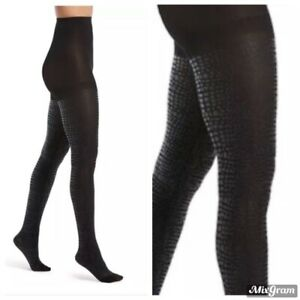 HUE Women's Luster Croc-Embossed Tights Black Size S/M NEW NWT