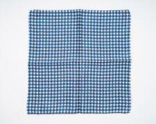 "Battisti Blue White Houndstooth Print 100% Silk Designer Pocket Square 13"""