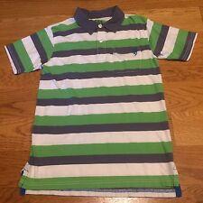 77KIDS AMERICAN EAGLE Boys Polo Striped Green White Short Sleeve Shirt Size 12