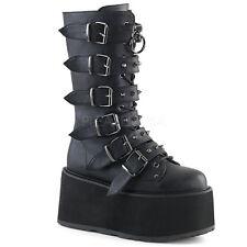 "Demonia Black Vegan 3.5"" Platform Mega Buckle Studded Boots Club Goth 6-12"