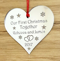 PERSONALISED FIRST CHRISTMAS TOGETHER TREE DECORATION BAUBLE STAR GIFT SILVER