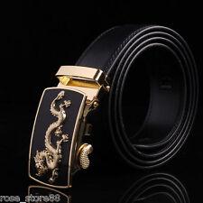 Mens Genuine Leather Automatic Buckle Belts Waist Strap Belt Waistband #dragon