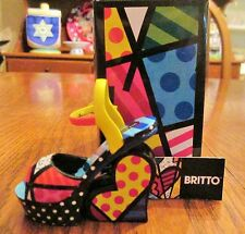 ROMERO BRITTO NWT NIB MINI SHOE MINIATURE FIGURINE WEDGE SANDAL COLLECTIBLE
