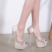 Womens Rhinestones Mesh Sandals Peep Toe 15cm High Heels Platform Nightclub Shoe