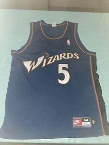 Adult 44 Washington Wizards Juwan Howard #5 Authentic Blue Jersey Nike CleAn
