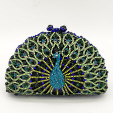 ccfb4bd2903 Women Peacock Crystal Clutch Evening Bag Wedding Party Minaudiere Handbag  Purse