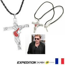 "Pendentif Chaine Collier JOHNNY HALLYDAY "" Guitare & Croix "" Diamant Rouge"