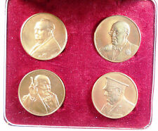 CHURCHILL 25TH ANNIVERSARY OF PEACE IN EUROPE. Set of four bronze medals