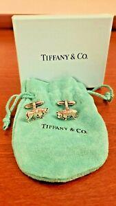 Tiffany & Co Bull & Bear Stock Market Cufflinks Sterling Silver w/ Box & Pouch