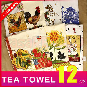 12pcs Kitchen Tea Towel Teatowels Dish Cloths Assorted Pattern Towels