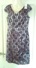 ladies gorgeous black / beige lace floral party dress size 10 New With tags