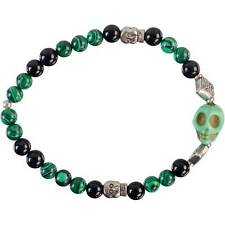 Skull Bracelet with Malahcite and Black Onyx Beads!