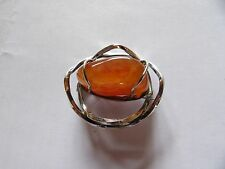EARLY OLA GORIE OMG STERLING SILVER CARNELIAN CAGE FREEFORM 3D BROOCH     L576-2