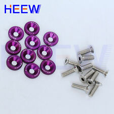 JDM BOLT ENGINE FENDER BUMPER WASHER BAY DRESS UP SCREW BILLET 10PCS PURPLE