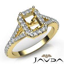Diamond Engagement 18k Yellow Gold Halo Prong Emerald Cut 0.5Ct Semi Mount Ring