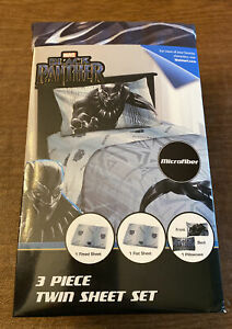 Marvel Black Panther 3 Piece Twin Sheet Set Avengers Microfiber