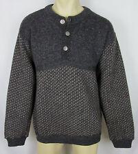 VTG LL Bean Wool sweater Birdseye Norway ½ button front metal Gray Mens Size L T