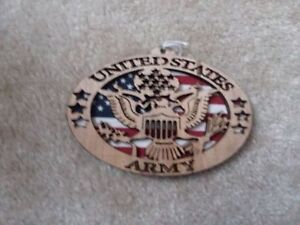 USA Army Oval Laser Etched Wood Sign With Flag Approx 5 3/4 x 3 7/8