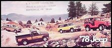 1978 Jeep CJ5 CJ7 Cherokee Wagoneer J10 J20 Pickup Brochure Renegade Chief Eagle