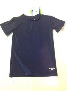 Unisex Youth Speedo Rash Guard Sun Protection Short Sleeve Shirt Blue SM NWT