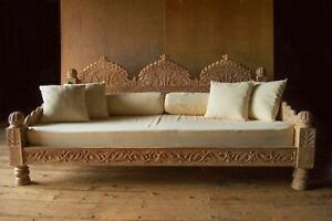 Classic and Handcrafted Wooden Divan in Solid Teak Wood