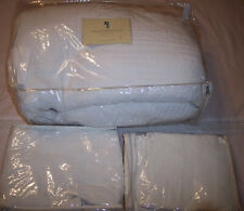 "BEAUTIFUL WHITE QUEEN BEDSPREAD 2 SHAMS  90"" SQUARE COUNTERPOINT QUILT STICH XC"