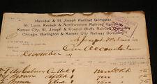 ANTIQUE RAILROAD LETTERHEAD DOCUMENT BURLINGTON ROUTE HANNIBAL & ST JOSEPH 1899