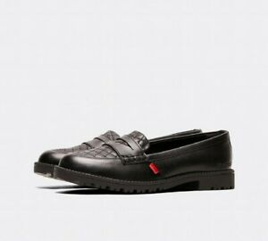 Kickers Black Lachley Quilt Y Loafer Real Leather Comfortabl Shoes Size:38 UK:5