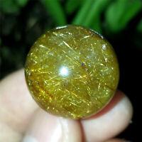 14g 21mm RARE Healing Sphere Natural Golden Hair Rutilated Quartz Crystal Ball