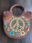 SAKS ISABELLA FIORE BROWN PEACE SIGN PIPER EMBROIDERED LEATHER HANDBAG NEW