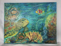 Original Acrylic Painting Underwater 11X14 Stretched Canvas Sea Turtle Art Decor