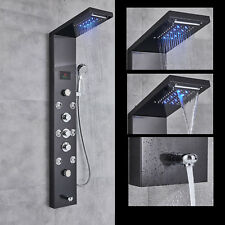 Oil Rubbed Bronze Shower Panel Tower LED Waterfall Rainfall with Massage System