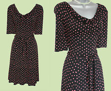 MONSOON Black Red Polka Dot Cowl Neck Short Sleeve Casual Dress UK 10  EU 38