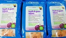 Lot New Dr. Brown's Tooth and Gum Wipes, 30 Count x 3 packs = 90