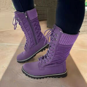 Fashion Women's Boots Western Retro Lace Ups Mid-Calf Low Flat-Heel Riding Boots